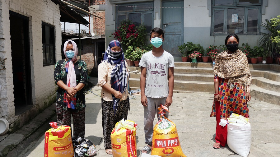 Relief distribution program at Tinkune-09, Kathmandu